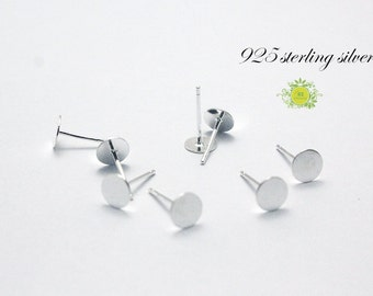 10pairs-925 sterling silver earring studs-3mm,6mm,8mm flat pad--findings