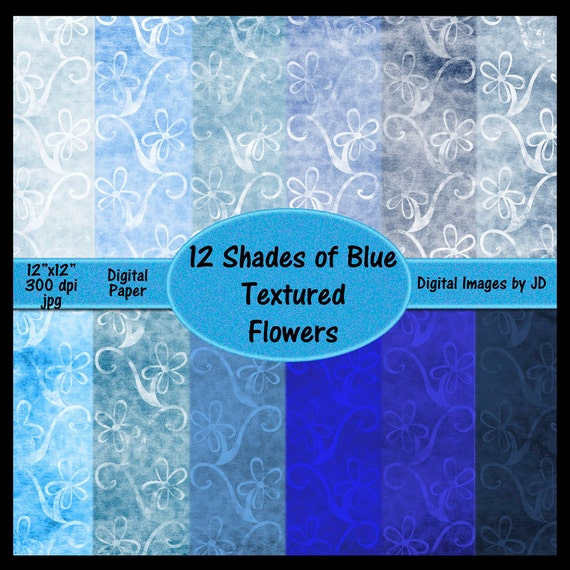 Shades Of Blue Digital Paper Pack Scrapbooking Paper