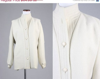 ON SALE Vintage 80s Herman Kay Cream Flannel Wool Coat Womens 7/8 L