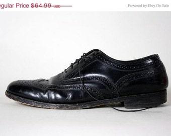 ON SALE Vtg Florsheim Black Leather Wingtip Oxford Shoes 10 D