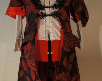 Red and Black Steampunk Coat, Red and Black Steampunk Jacket, Steampunk Coat. Red coat, Steampunk Jacket, Red Jacket.