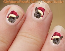 Christmas French Bulldog Nail Art,  Dog wearing a santa hat, Dog Stickers,  Fingernail Stickers, Frenchie, Boston Terrier, Decals