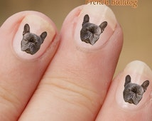 French Bulldog Nail Art Stickers,   Dog decals,  Fingernail Stickers, Frenchie, Boston Terrier, Decals, fun gift, easy to use