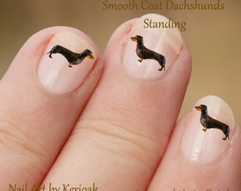 Standing Dachshund Nail Art,  Dog Nail Art Stickers, Profile, side view, Dachshund Decals, Sausage Dog, Teckel, fun to wear, great gift