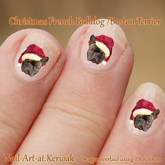 Christmas Finger Nail Art: Christmas French Bulldog Nail Art, Dog Wearing A Santa Hat