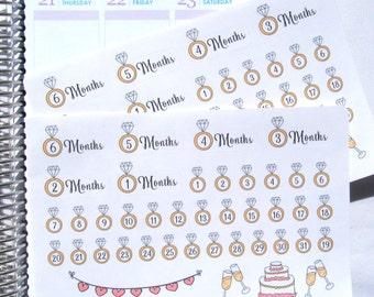 Wedding Countdown Planner Sticker fits Erin Condren Life Planner (ECLP) Reminder Sticker 1707