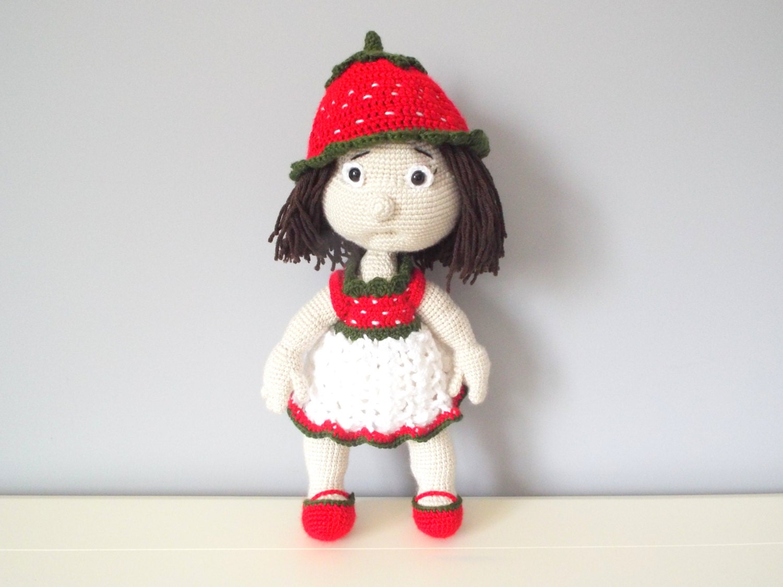 Amigurumi Strawberry Doll Pattern : Crochet stuffed doll strawberry kids toys by CrochetToysCorner