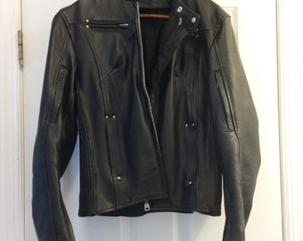 Leather biker jacket, black, size S women's