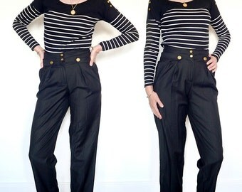 80's nautical vintage black trousers