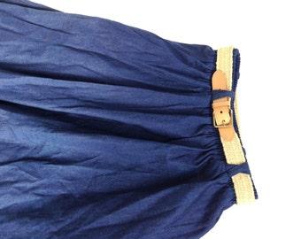 Vintage 80's dark denim skirt. Vintage circle skirt.