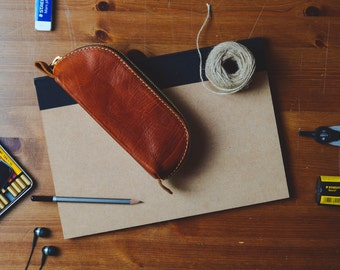 Leather Pencil Case, Stationary Bag, Pencil Holder, Leather Pouch, Small Toiletry Bag, Gifts for him, Gifts for her, Leather Travel Case,