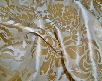 SILK LOOM FORTUNY Style Venetian Lotus Medallion Printed Silk Damask Fabric 10 Yards Cream Gold