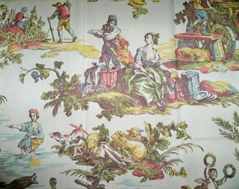 BRUNSCHWIG & FILS Shabby Romantic PASTORAL French Toile De Jouy Fabric 10 Yards Vintage Multi
