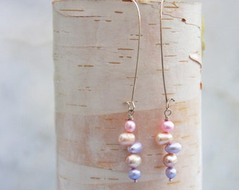 Silver freshwater pearl earrings long