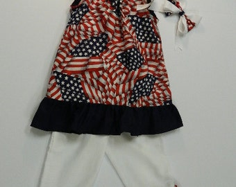Patriotic girls outfit, Flag dress,Girls Pillow case dress