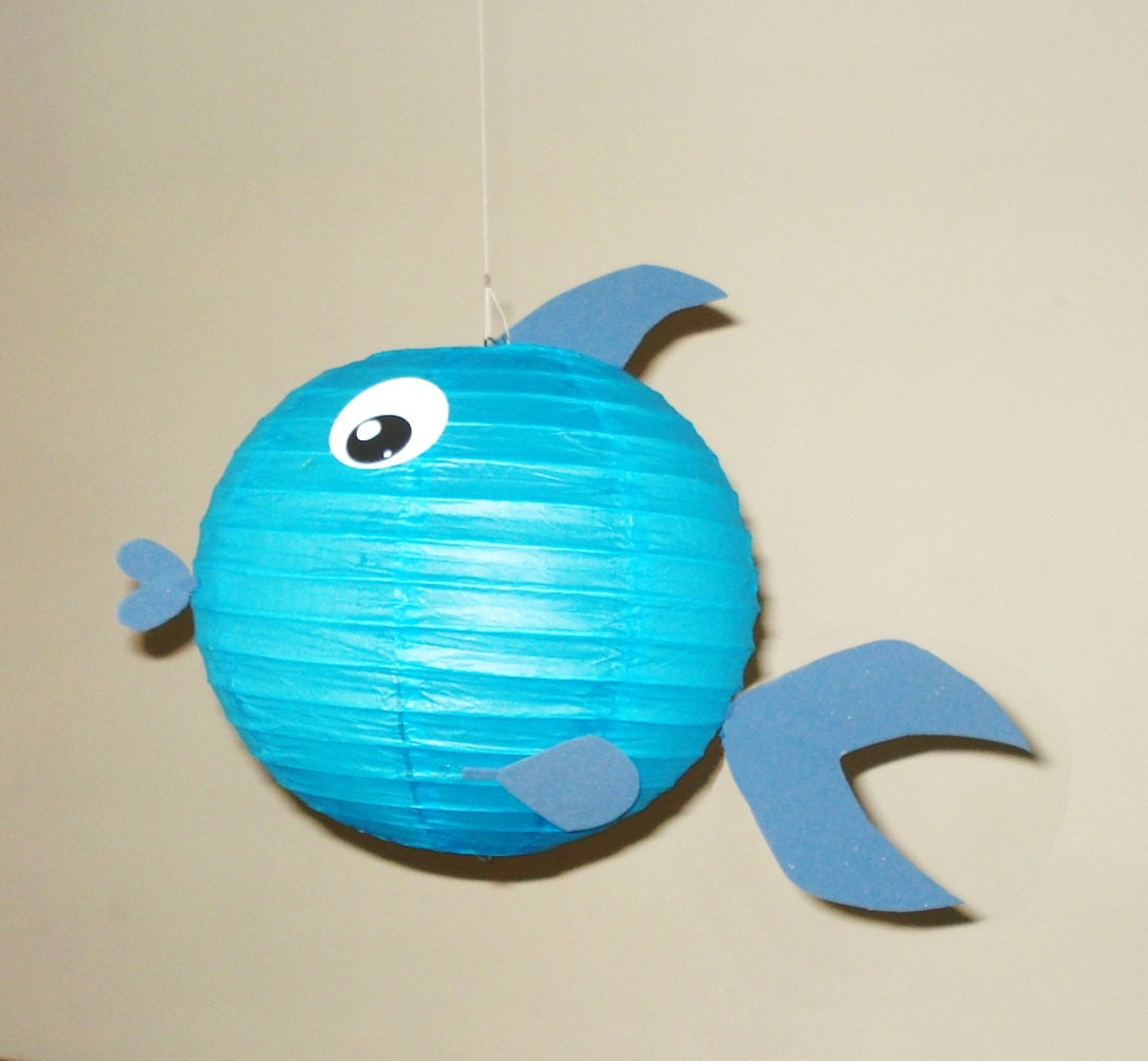 Blue fish paper lantern party decorations baby shower room for Fish paper lanterns