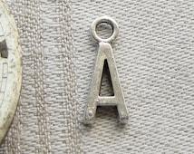 "Silver Letter ""A"" Charm, 1 each per package. ALF013a"
