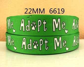7/8 inch Adopt me on lime green -  Puppy Dog Adopt Me - Printed Grosgrain Ribbon for Hair Bow
