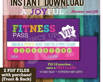 Zumba business card etsy fitness pass 35x2 digital pdf file instant download reheart Gallery