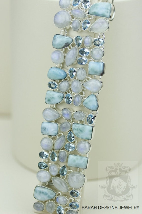 Larimar, Aquamarine and Moonstone Sterling Silver Bracelet