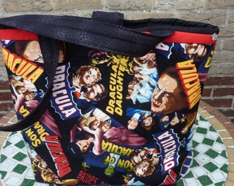 Halloween tote bag, Gothic Horror Monster bag, Dracula tote bag, Gothic quilt bag, Monsters and Horror tote bag, Hollywood Prints bag.
