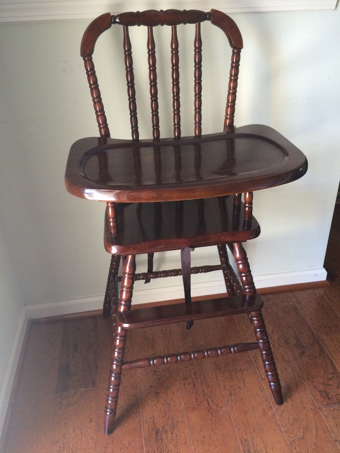 Vintage Wooden High Chair Jenny Lind on Vintage Wooden Baby High Chair