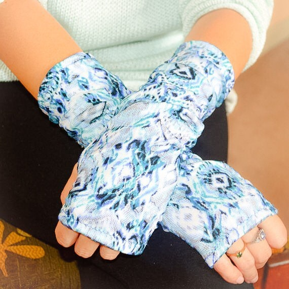 Items similar to fingerless gloves blue lace glamour for Lace glove tattoo