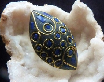 Ethnic Ring from Nepal with Blue Inays, Us Size 7 1/2