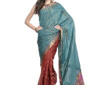 Women's Dresses - Bollywood Designer Teal and Maroon Brocade Art Silk Partywear Saree - NH16220