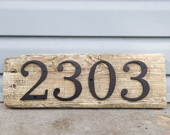 Driftwood House Number (4 numbers or less) Reclaimed Wood Beach House Decor