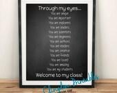 Through my eyes, teacher gift, classroom art, chalkboard style,Wall Art, Dorm Art, Instant Download