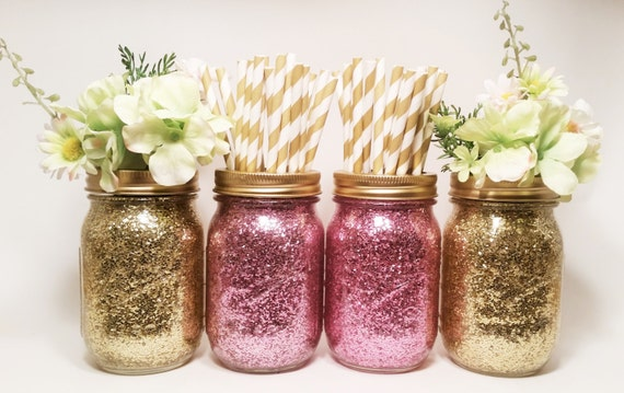 Mason jar centerpieces gold wedding decor pink and by
