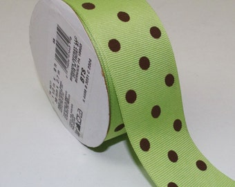 Offray Grosgrain Dippy Dots Lime Brown Ribbon 1-1/2 in x 9 ft 38mm x 2.7m Polka Dot Sewing Crafts Decorating Hair Bow