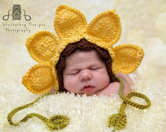 Sunflower Bonnet - Newborn - 6-12 Months - Photography Prop - Yellow - Baby Girl - Baby Shower Gift - Fall Prop Hat - Crochet - Handmade