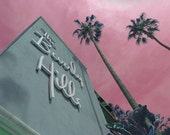 The Beverly Hills California Palm Trees Pink Sky Looking Up Hotel Sunset Bouvelard Fine Art Photograph Print Photography