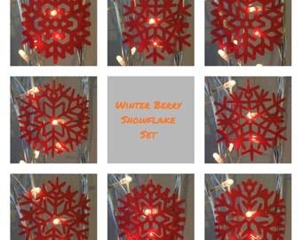 Winter Berry Snowflake Christmas Decoration Set