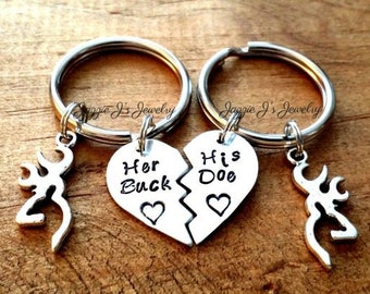 Her Buck His Doe Hand Stamped Keychains with Deer Charm, His Doe Her Buck Personalized Set, Couples Personalized Gift, His and Hers Set