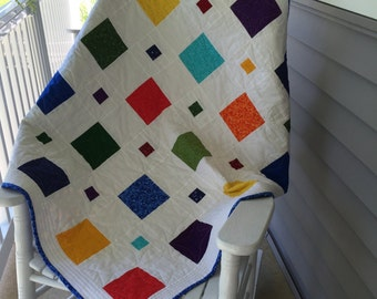Price reduced!  Crayon colors baby boy quilt