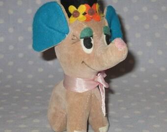 Vintage Dreamy Eyed Stuffed Elephant Fair Carnival Prize Animal Turquoise