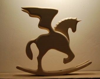 romantic gifts for daughter gift for horse lover rocking horse art cutout wood unicorn wings horse decor wooden toys
