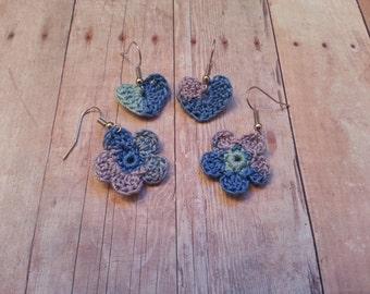 Pair of Crochet Dangle Earrings, 100% Cotton
