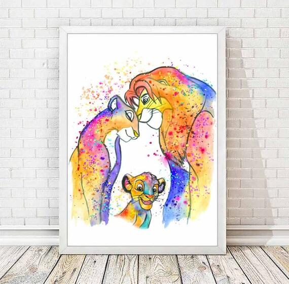 Simba Et Nala Aquarelle Imprimer Le Roi Lion Aquarelle