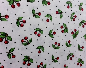 Cranston Prints, ZD 53953 002 White background with cherries and black dots