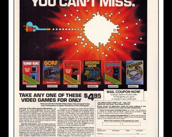 "Vintage Print Ad August 1983 : Atari Video Game Donkey Kong Zaxxon Frogger Gorf Wall Art Decor 8.5"" x 11"" Advertisement"