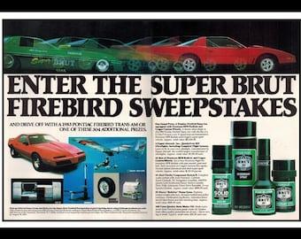 "Vintage Print Ad October 1983 : Brut 33 Pontiac Firebird Trans Am Car Automobile 2 Page Advertisement Wall Art Decor Color 16"" x 11"""