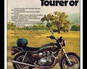 "Vintage Print Ad March 1980 : Suzuki 850G Motorcycle  Wall Art Decor 8.5"" x 11"" Print Advertisement"