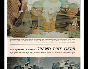 """Vintage Print Ad March 1965 : Indy Grand Prix Garb 3 Page Pictorial Stirling Moss Automobile Wall Art Decor 8.5"""" x 11"""" Advertisement"""