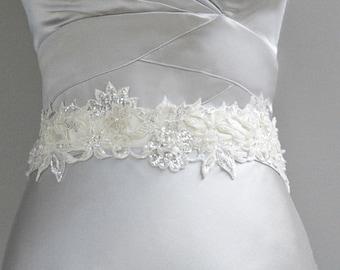 Luxury Wedding Sash, Luxury Bridal Sash, Sequin Sash, Pearl Sash, Beaded Sash, Flower Sash, Crystal Sash, Ivory Lace Sash. Style: Venus