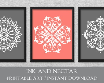 Coral Colored Wall Decor set of 3 prints | etsy