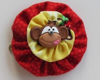 Funny Monkey, YoYo Hair Clip, Polka Dots, Monkeys, Monkey Hair Clips, Girls Hair Clips, eclectiKIDS